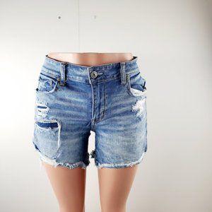 American Eagle Womens Blue Denim Distressed Shorts